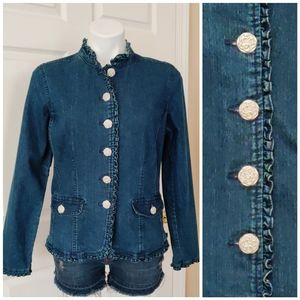 Baccini ruffle trimmed button up denim jacket sz M